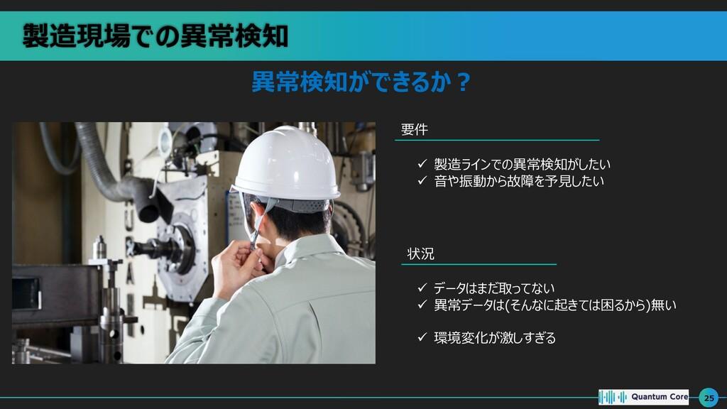 製造現場での異常検知 25 異常検知ができるか︖ 要件 状況 ü 製造ラインでの異常検知がした...