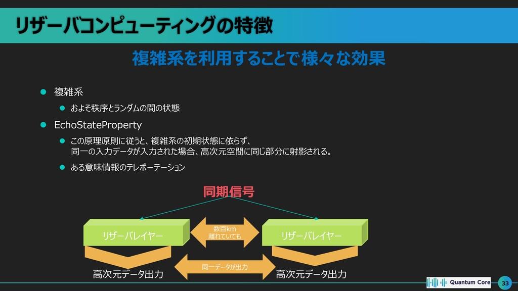 リザーバコンピューティングの特徴 l 複雑系 l およそ秩序とランダムの間の状態 l Echo...
