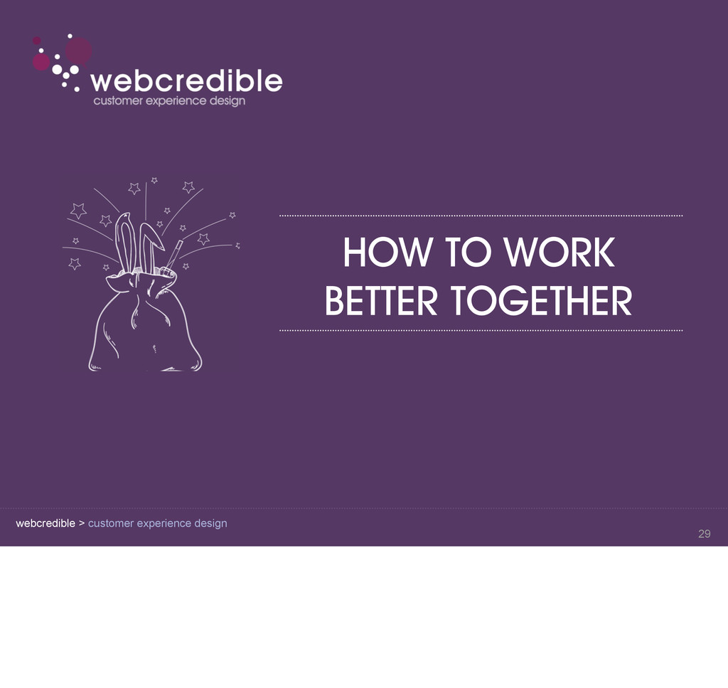 webcredible > customer experience design HOW TO...