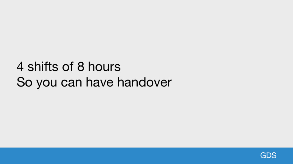 GDS 4 shifts of 8 hours So you can have handover