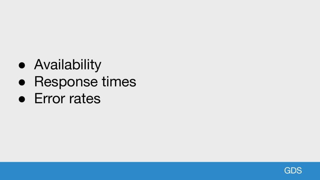 GDS ● Availability ● Response times ● Error rat...