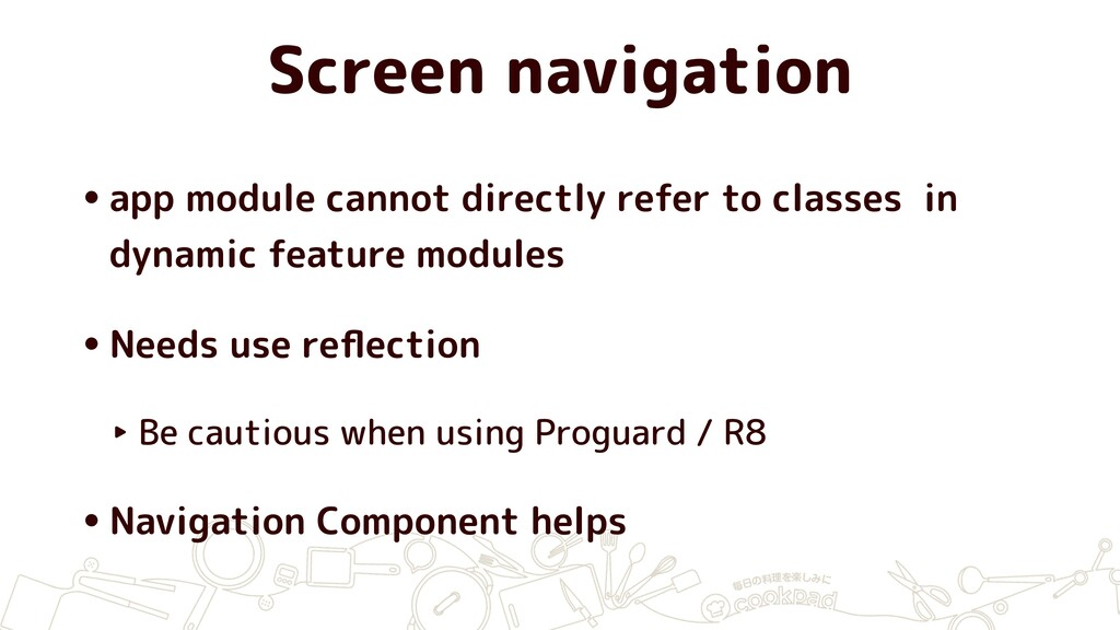 Screen navigation •app module cannot directly r...