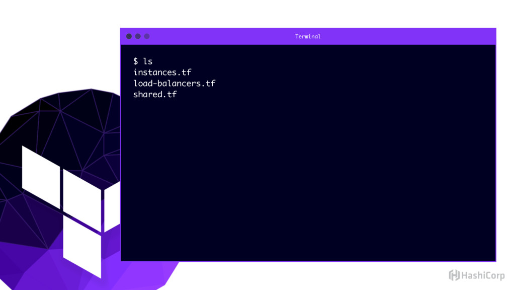 Terminal $ ls instances.tf load-balancers.tf sh...