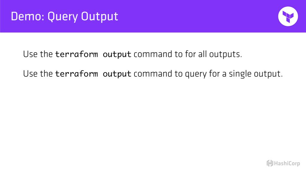 Demo: Query Output Use the terraform output com...