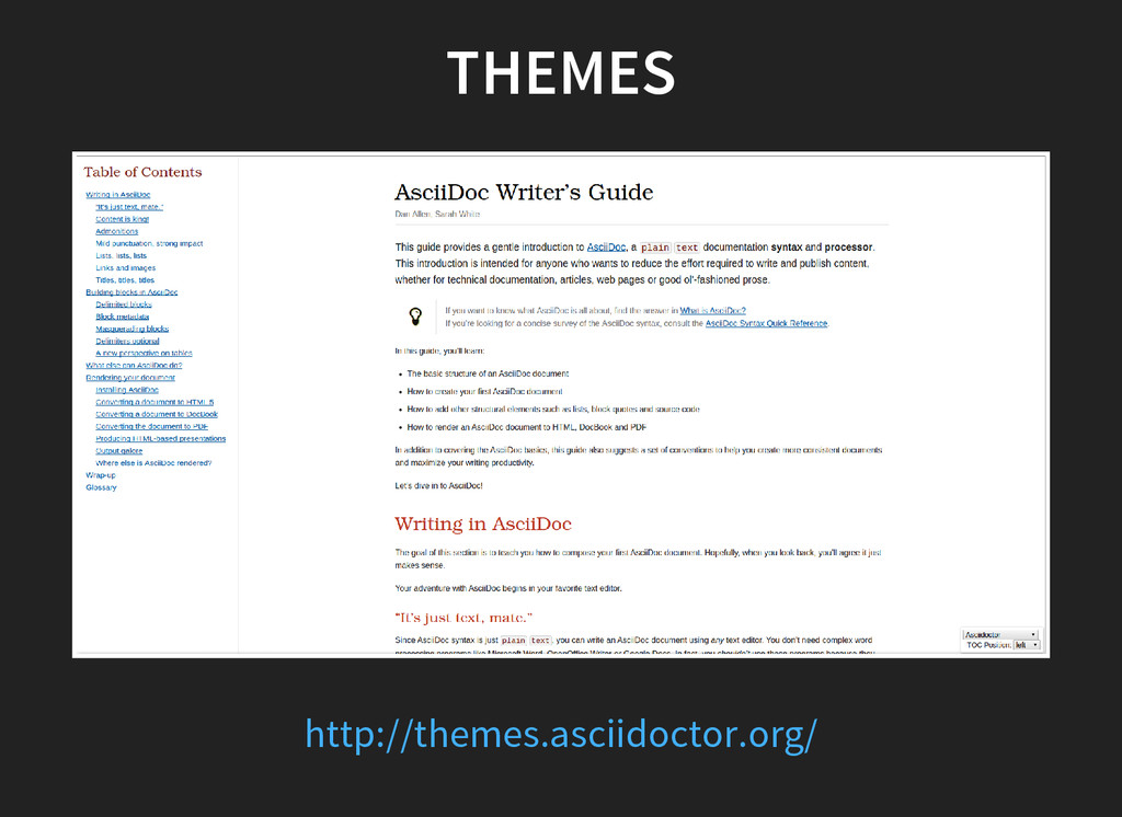 THEMES http://themes.asciidoctor.org/