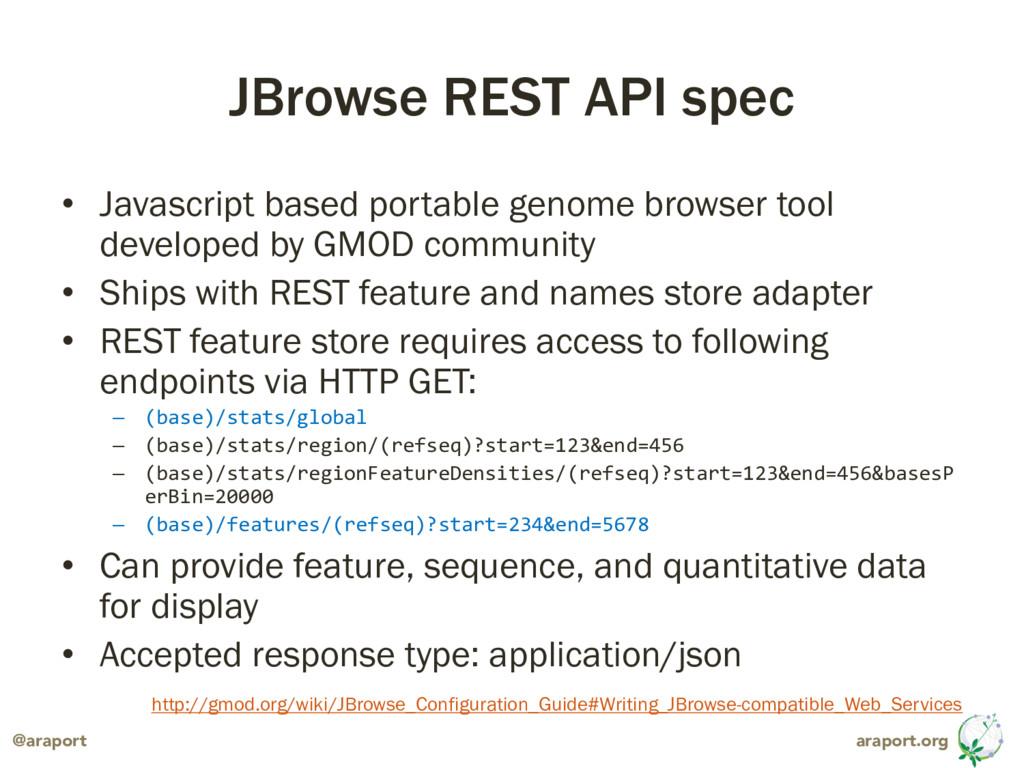 araport.org @araport JBrowse REST API spec • Ja...