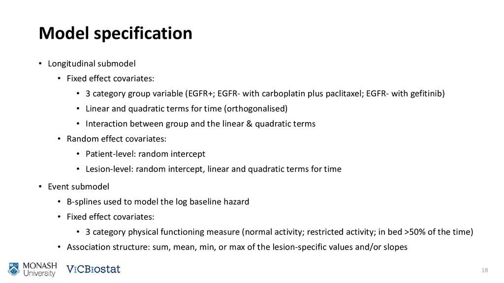 Model specification • Longitudinal submodel • F...
