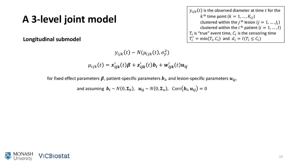 A 3-level joint model 10   is the observed diam...
