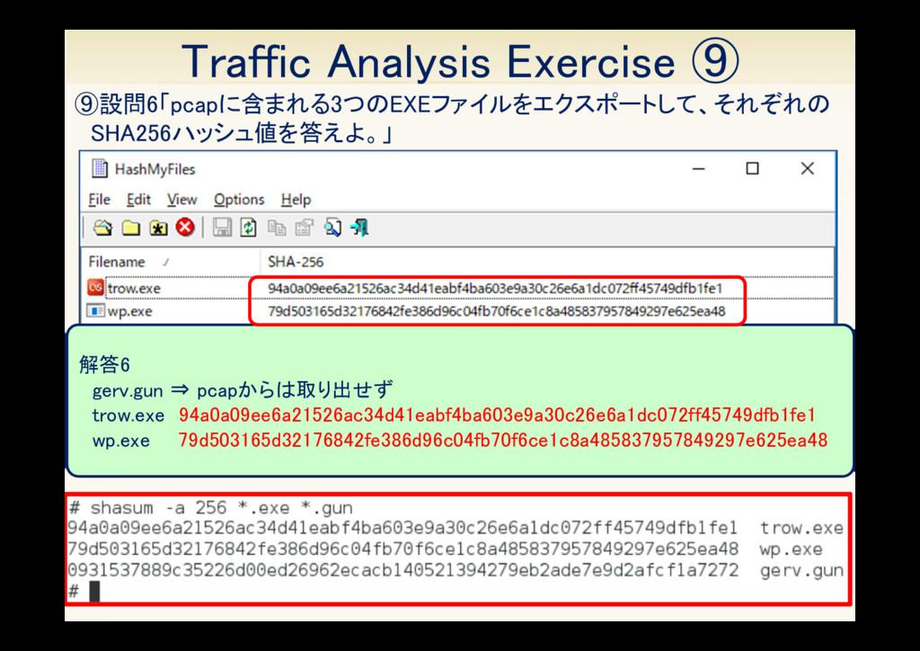 33 ⑨設問6「pcapに含まれる3つのEXEファイルをエクスポートして、それぞれの SHA2...