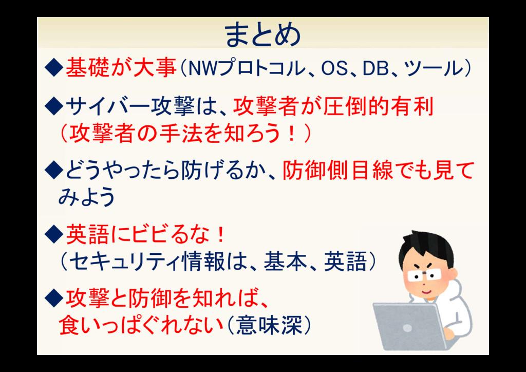37 まとめ ◆英語にビビるな! (セキュリティ情報は、基本、英語) ◆攻撃と防御を知れば、 ...