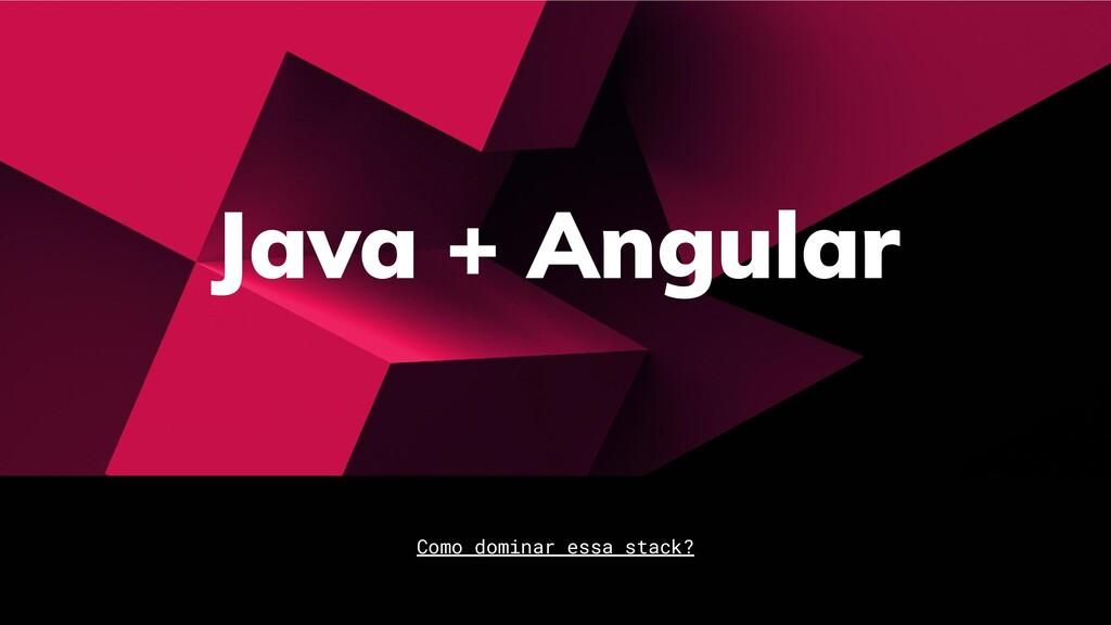 Java + Angular Como dominar essa stack?