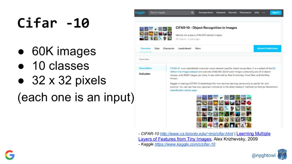 @nyghtowl Cifar -10 ● 60K images ● 10 classes ●...