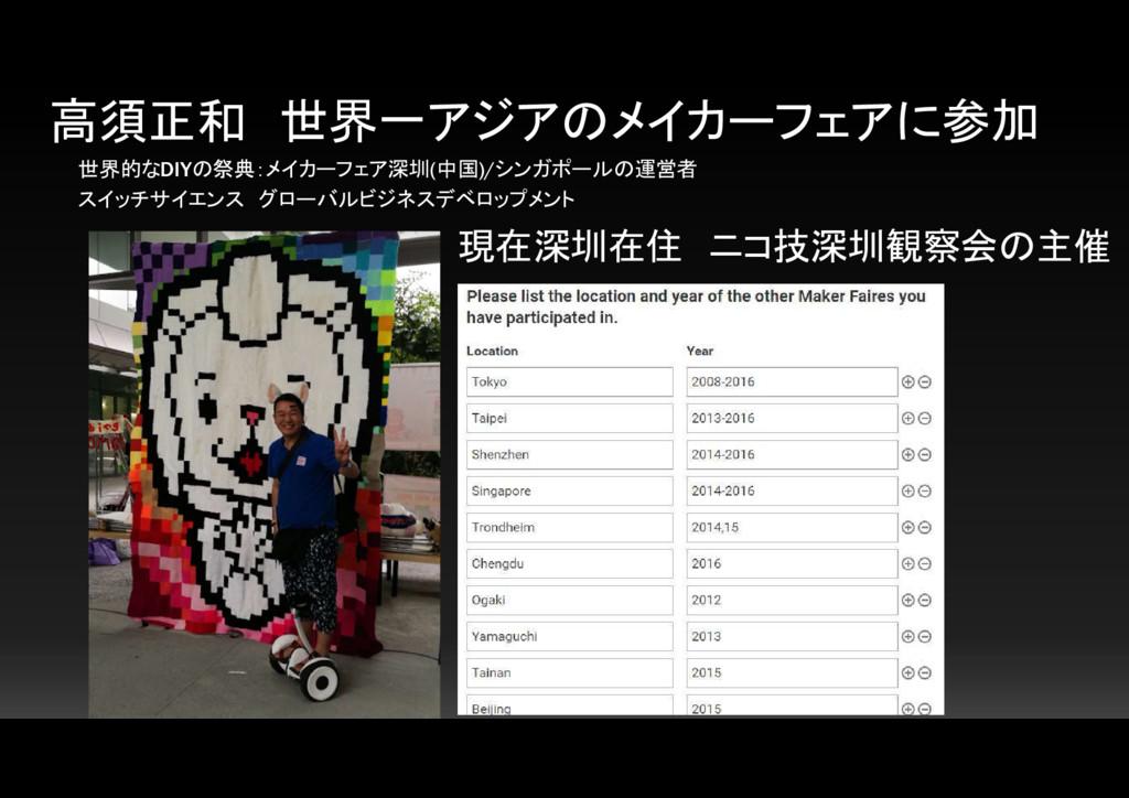 高須正和 世界一アジアのメイカーフェアに参加 世界的なDIYの祭典:メイカーフェア深圳(中国)...