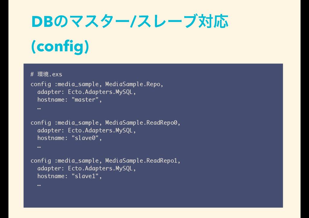 DBͷϚελʔ/εϨʔϒରԠ (config) # ڥ.exs config :media_s...