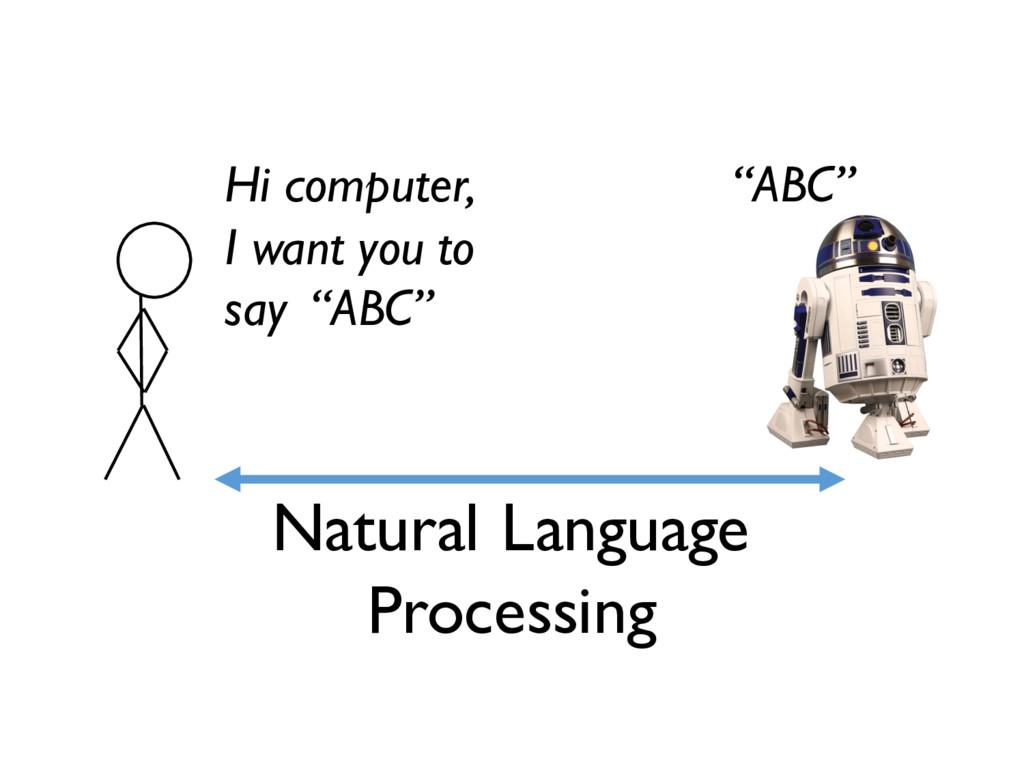 Natural Language Processing Hi computer, I want...