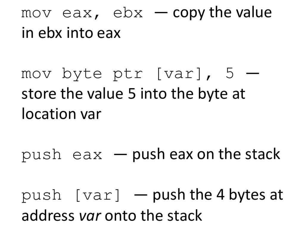 mov eax, ebx — copy the value  in e...
