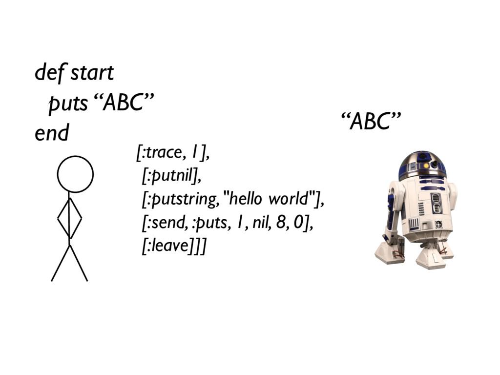 "def start puts ""ABC"" end [:trace, 1], [:putnil]..."