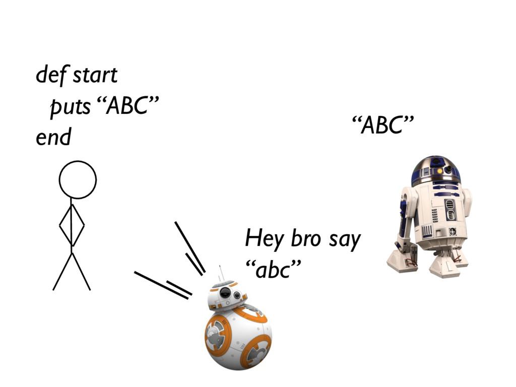 "def start puts ""ABC"" end ""ABC"" Hey bro say ""abc"""