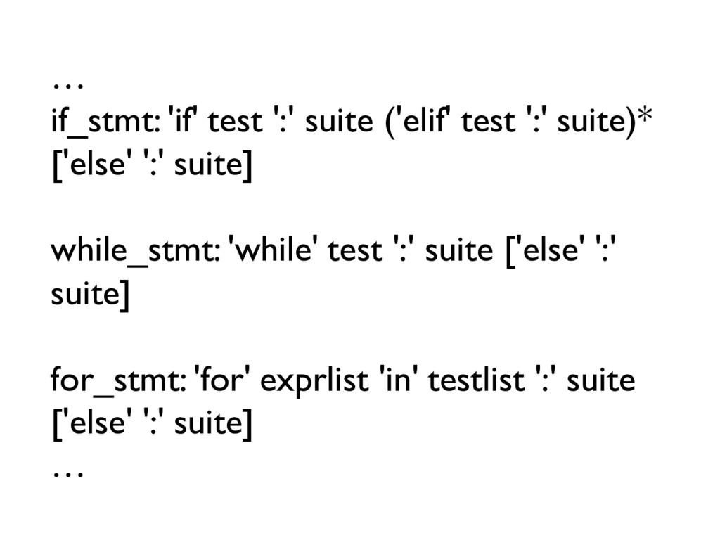 … if_stmt: 'if' test ':' suite ('elif' test ':'...
