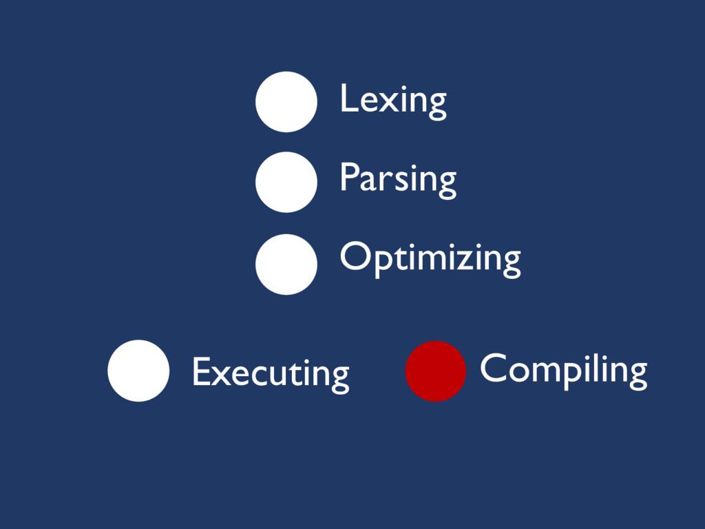 Lexing Parsing Optimizing Executing Compiling
