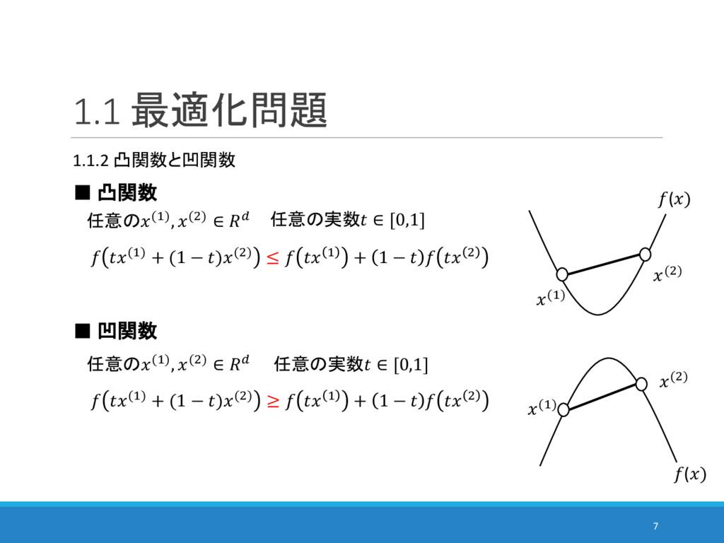 1.1 最適化問題 1.1.2 凸関数と凹関数 ■ 凸関数  任意の(#), (&) ∈ 2 ...