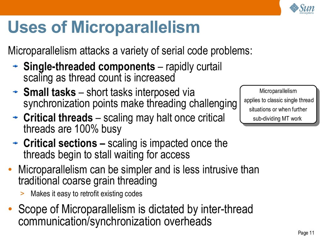 Page 11 Uses of Microparallelism Microparalleli...