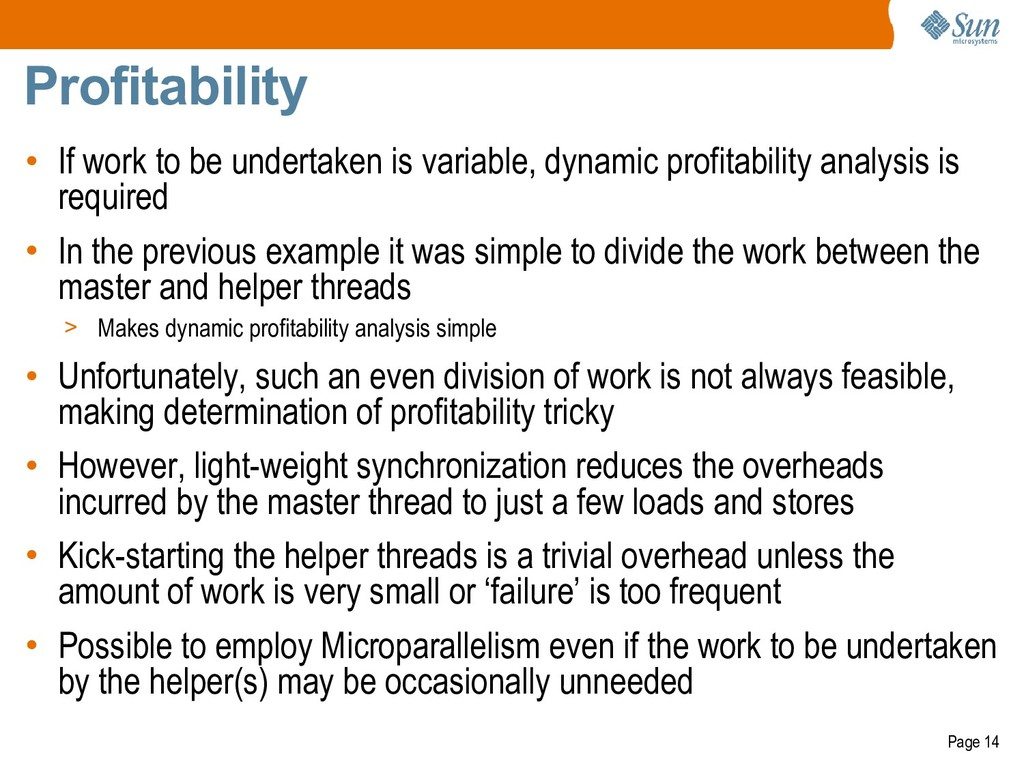 Page 14 Profitability • If work to be undertake...
