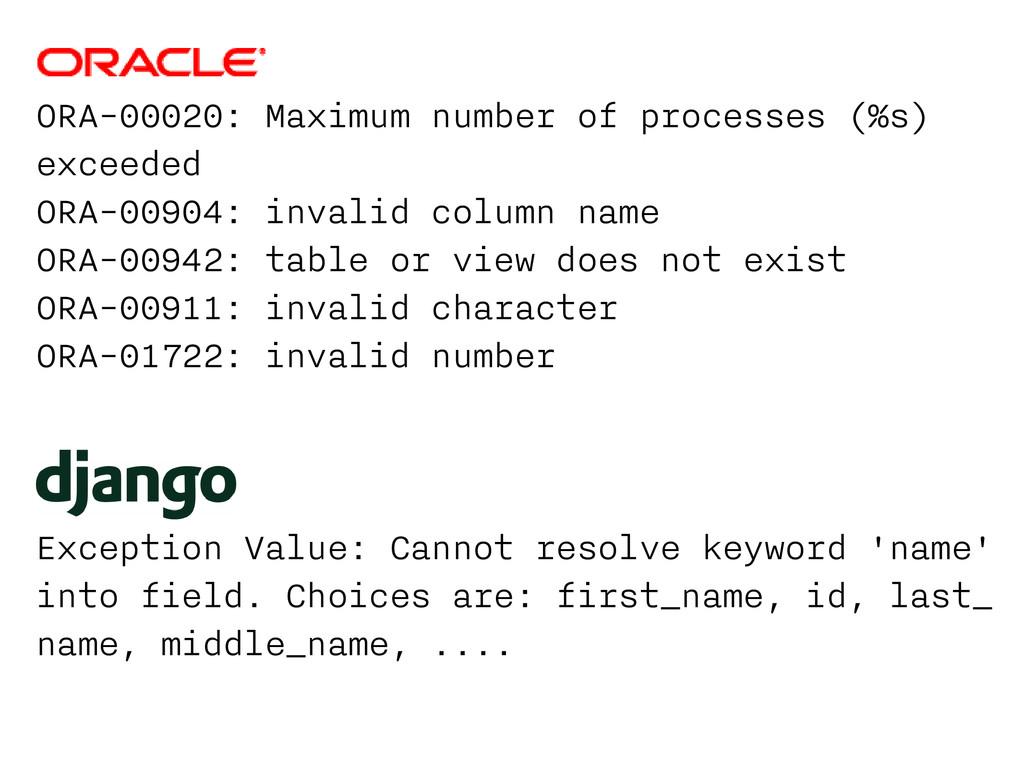 ORA-00020: Maximum number of processes (%s) exc...