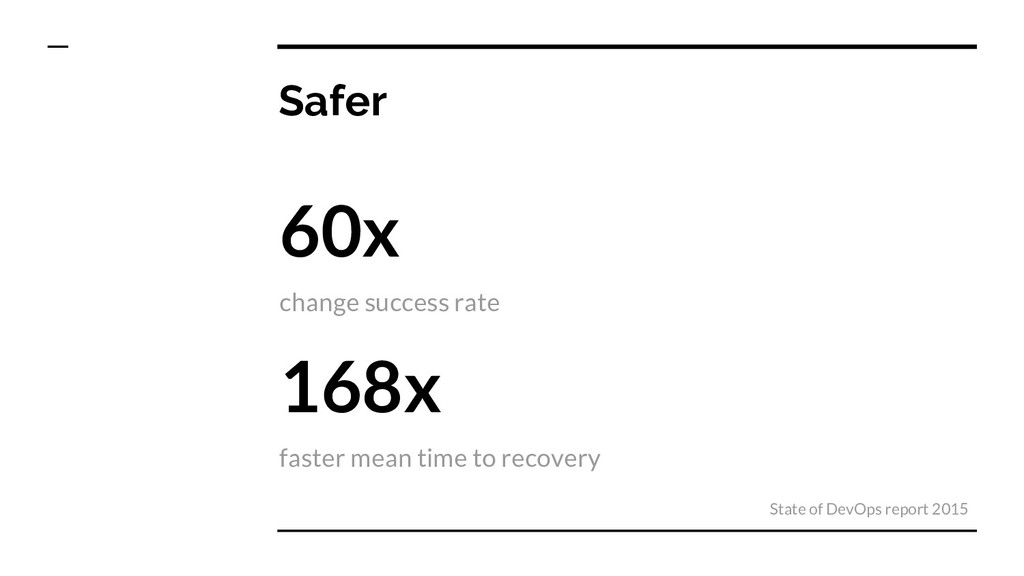 Safer 60x change success rate 168x faster mean ...
