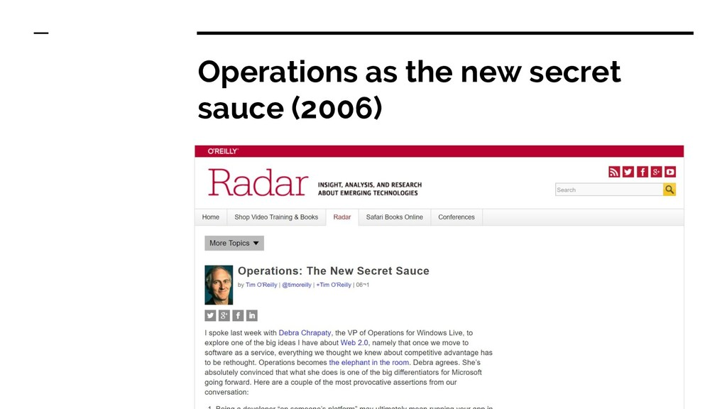 Operations as the new secret sauce (2006)