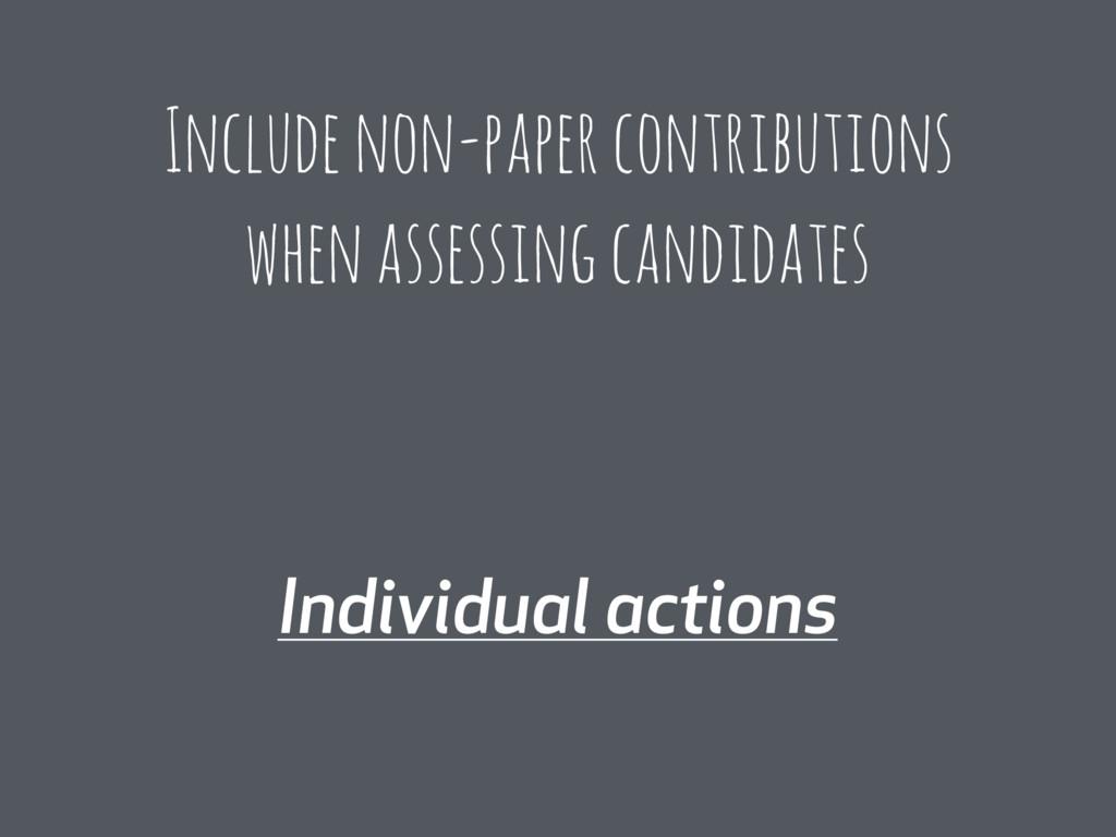 Individual actions Include non-paper contributi...