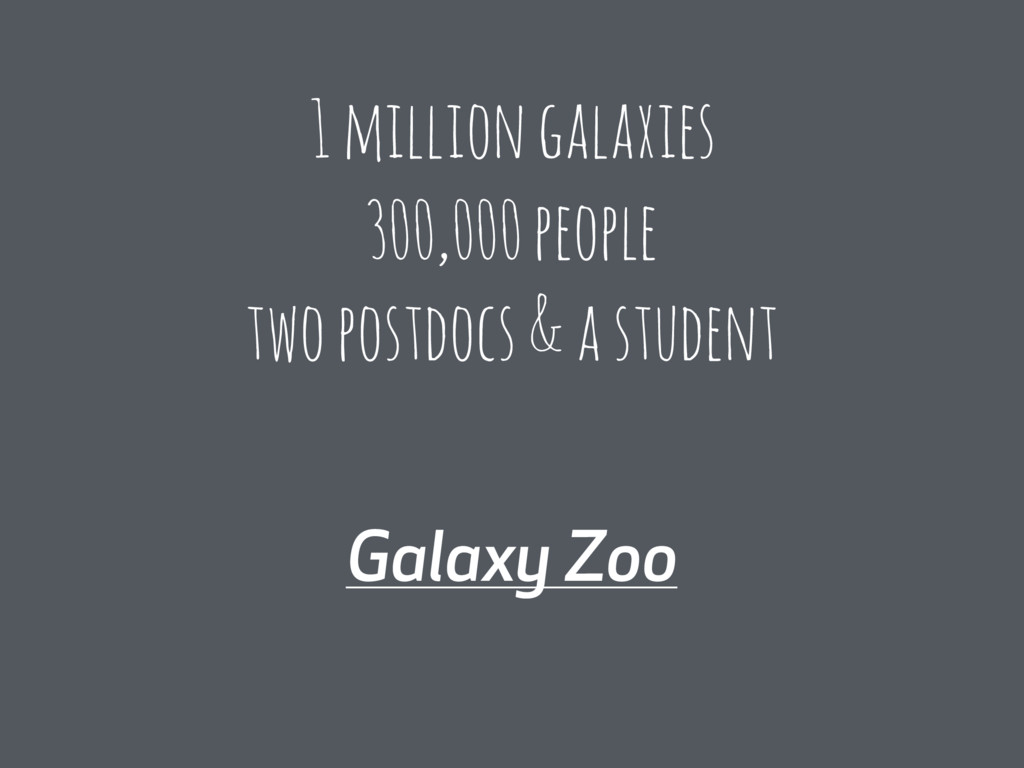 Galaxy Zoo 1 million galaxies 300,000 people tw...