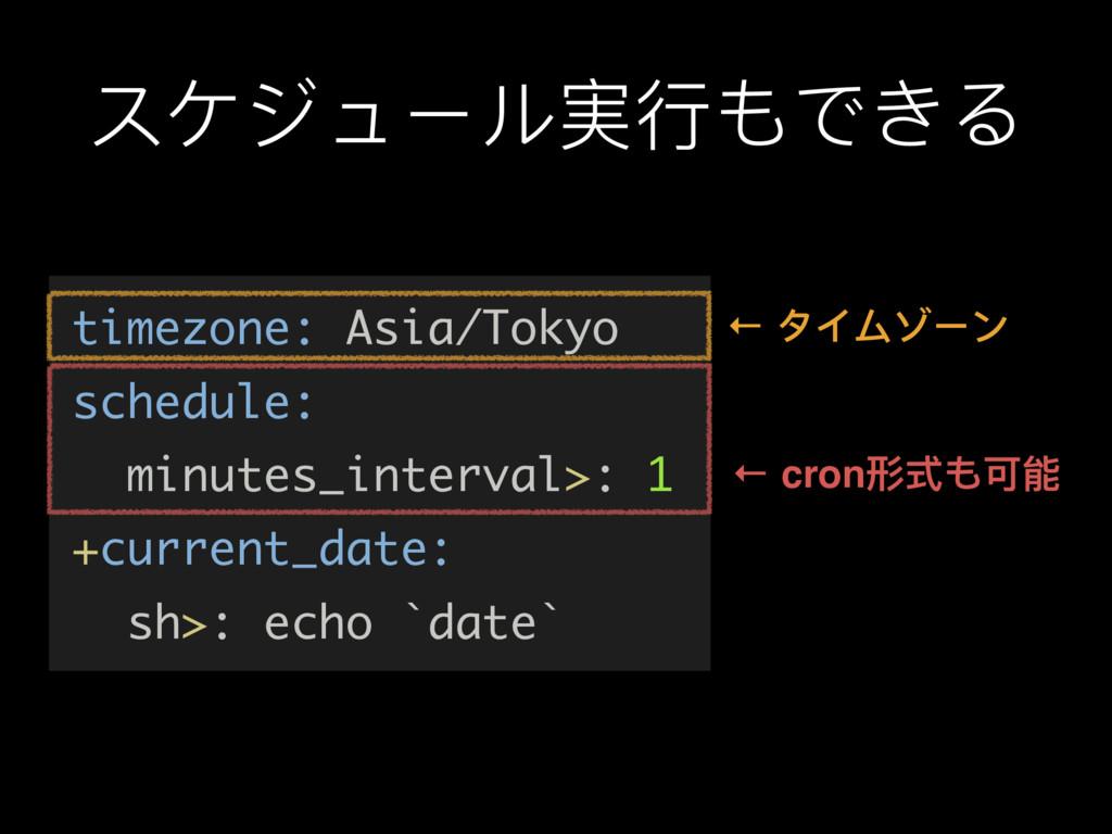 スケジュール実⾏行行もできる timezone: Asia/Tokyo schedule: m...