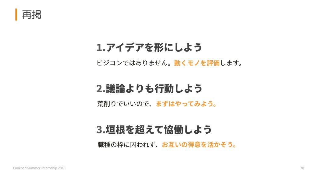 Cookpad Summer Internship 2018 1.アイデアを形にしよう 2.議...