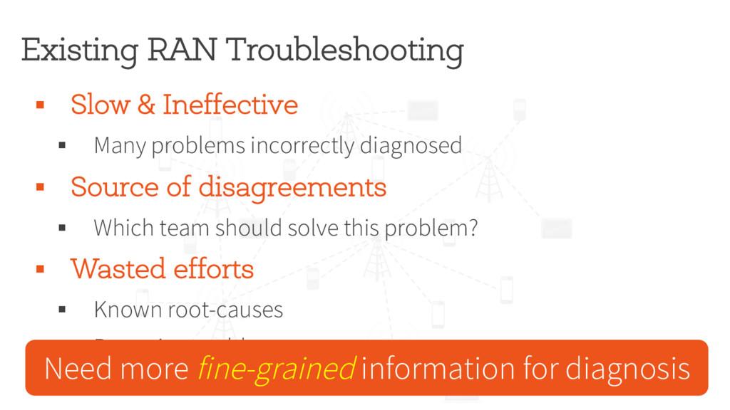 Existing RAN Troubleshooting § Slow & Ineffecti...