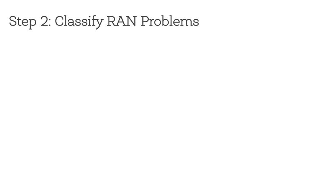 Step 2: Classify RAN Problems