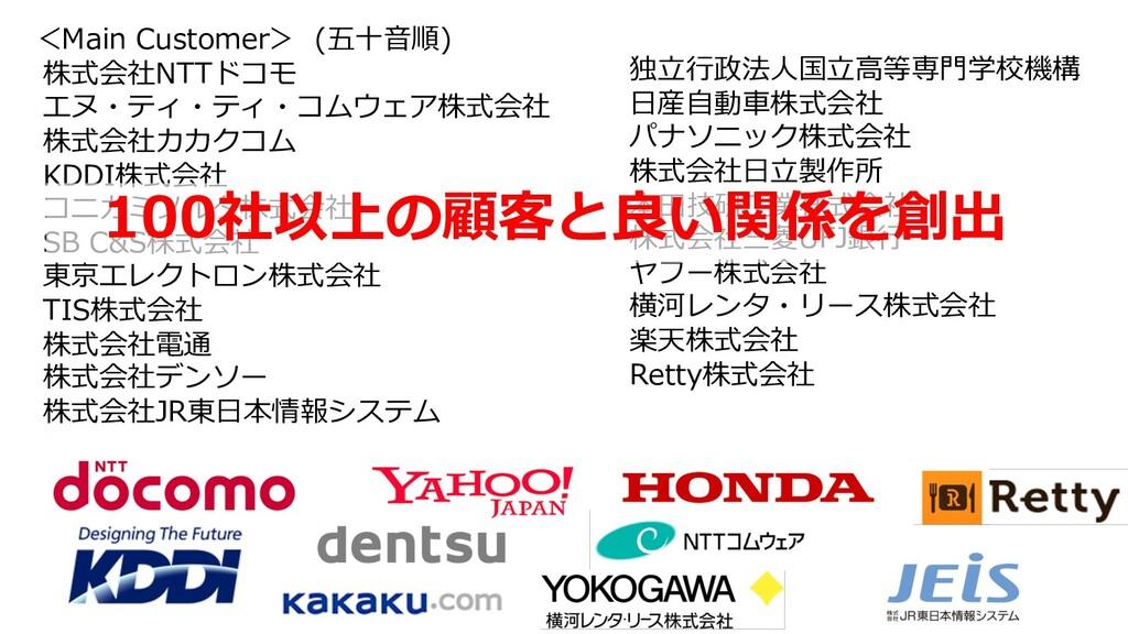 <Main Customer> (五⼗⾳順) 株式会社NTTドコモ エヌ・ティ・ティ・コムウェ...