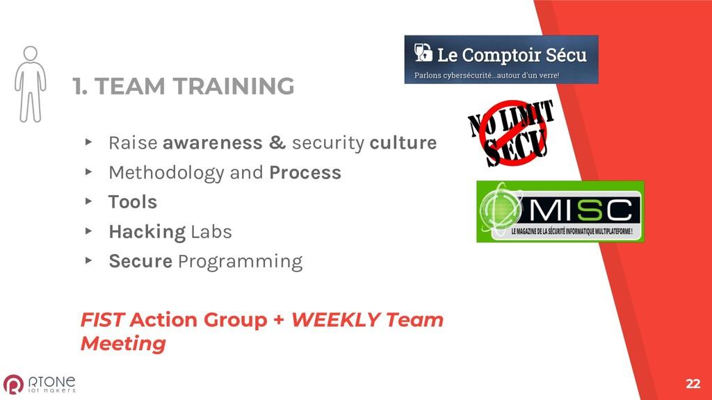 1. TEAM TRAINING ▸ Raise awareness & security c...