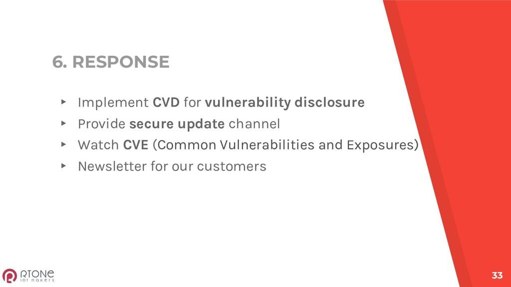 6. RESPONSE ▸ Implement CVD for vulnerability d...