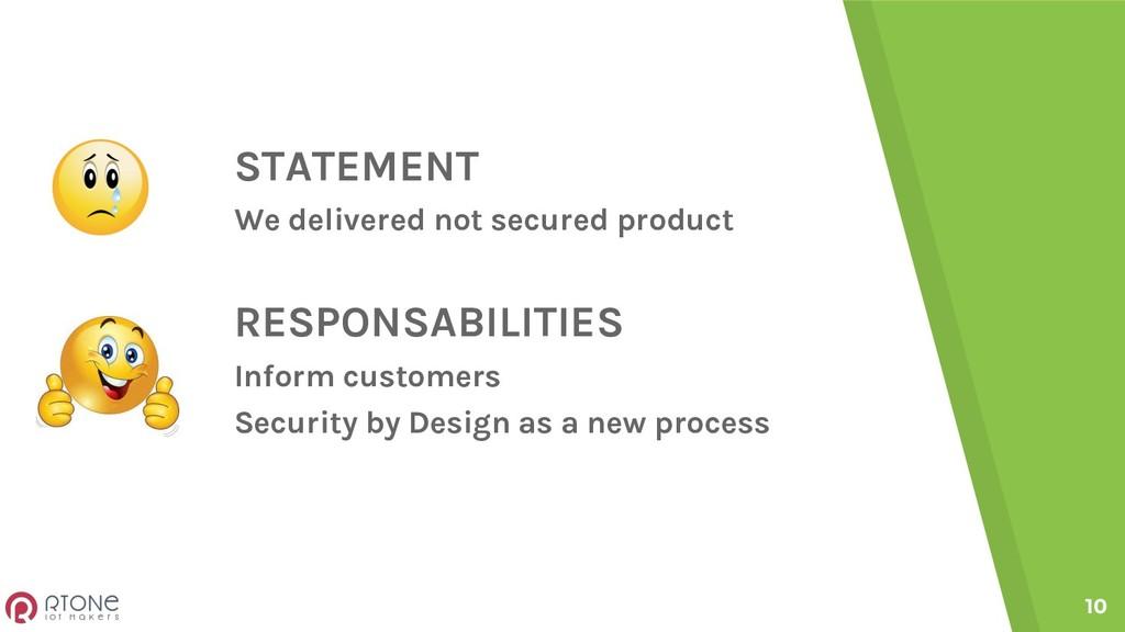 STATEMENT We delivered not secured product RESP...