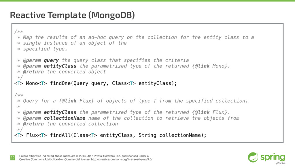 Reactive Template (MongoDB) 22 Unless otherwise...