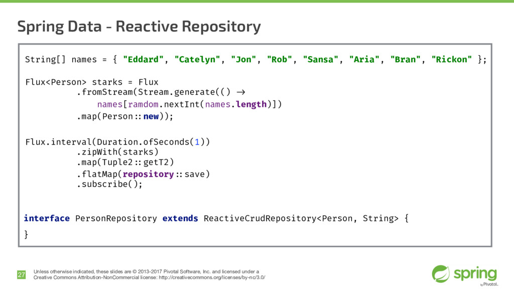 Spring Data - Reactive Repository 27 Unless oth...
