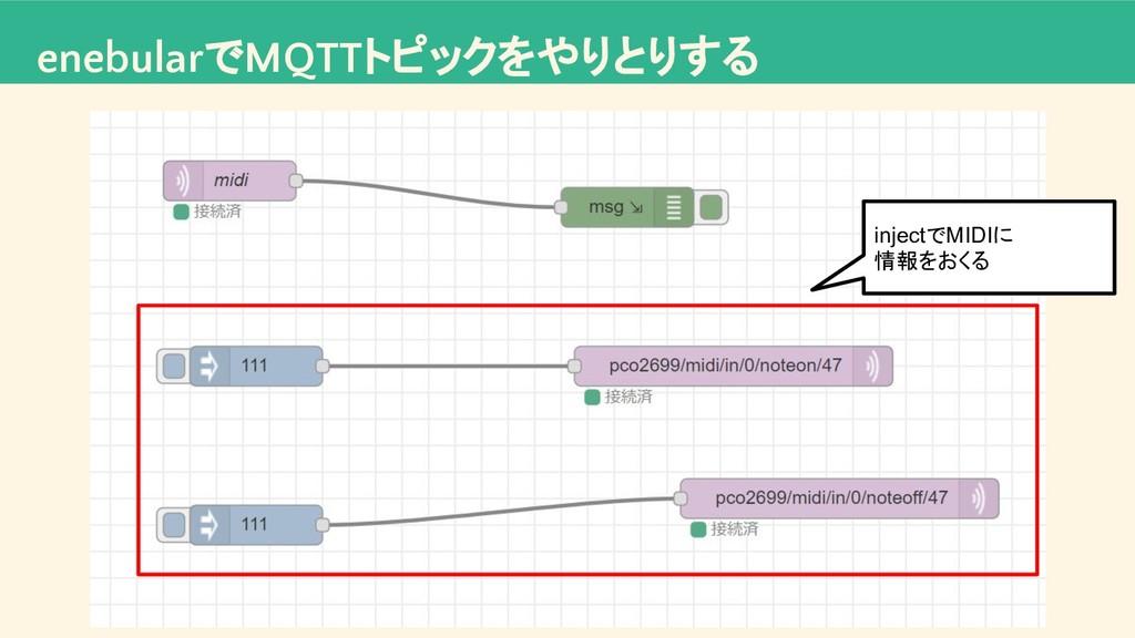 enebularでMQTTトピックをやりとりする injectでMIDIに 情報をおくる