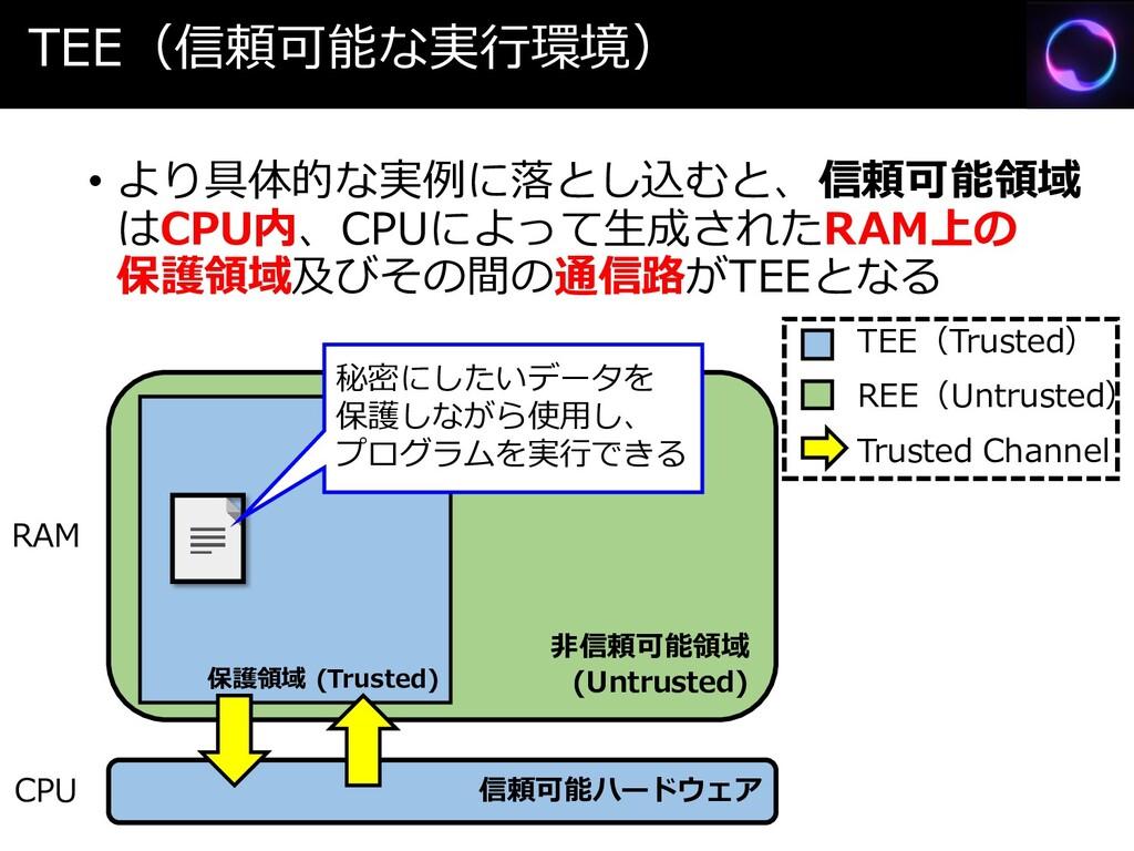 TEE(信頼可能な実行環境) • より具体的な実例に落とし込むと、信頼可能領域 はCPU内、C...