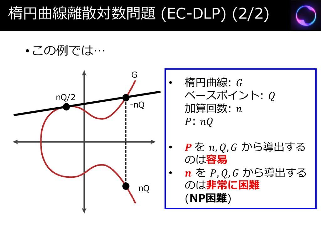 楕円曲線離散対数問題 (EC-DLP) (2/2) •この例では… nQ/2 -nQ nQ G...