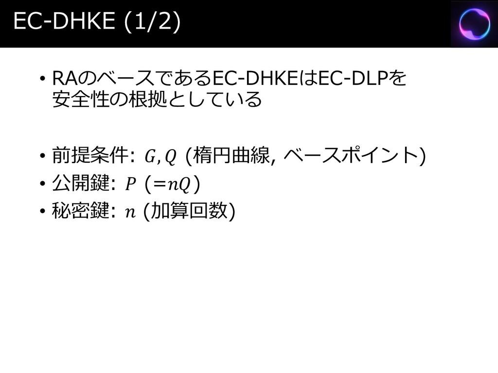 EC-DHKE (1/2) • RAのベースであるEC-DHKEはEC-DLPを 安全性の根拠...