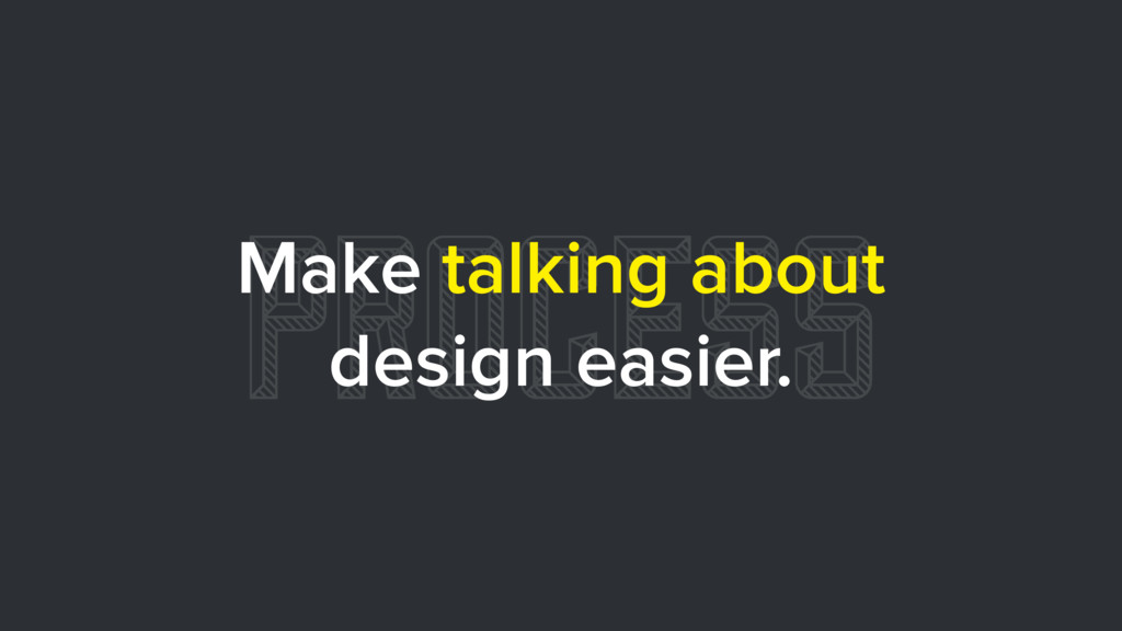 PROCESS Make talking about design easier.