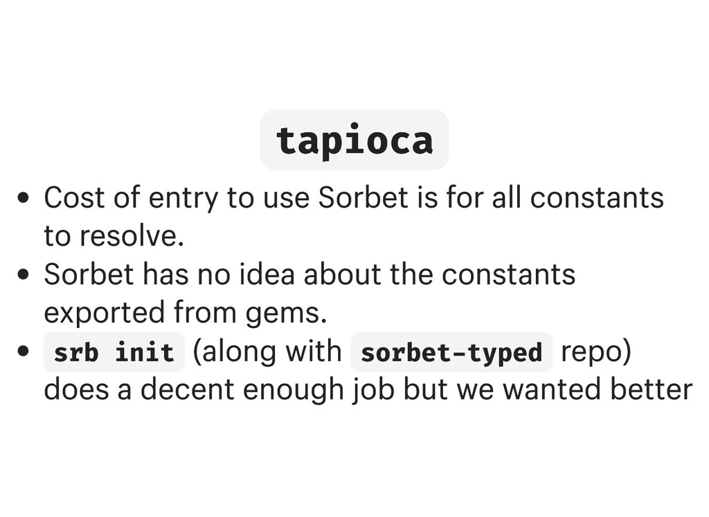 tapioca tapioca Cost of entry to use Sorbet is ...