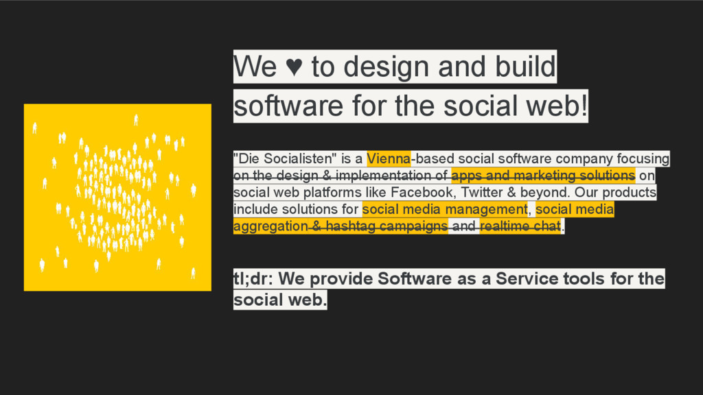 We ♥ to design and build software for the socia...