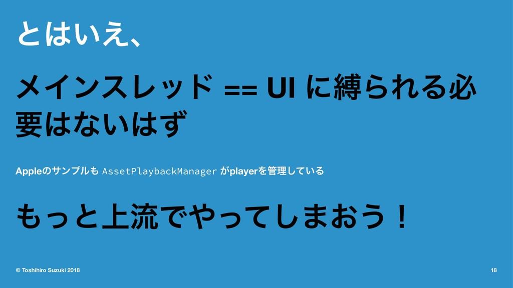 ͱ͍͑ɺ ϝΠϯεϨου == UI ʹറΒΕΔඞ ཁͳ͍ͣ Appleͷαϯϓϧ A...